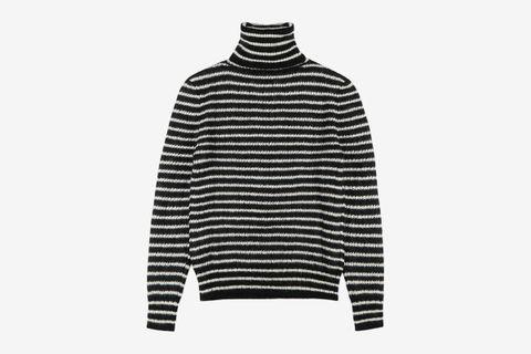 Monochrome Striped Mohair-Blend Jumper