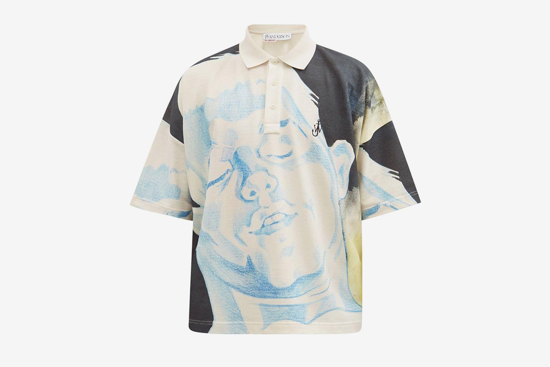 Polo en jersey de coton à imprimé croquis