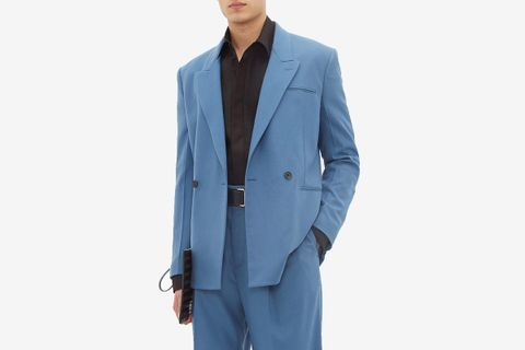 Double-Breasted Cashmere-Blend Suit Jacket
