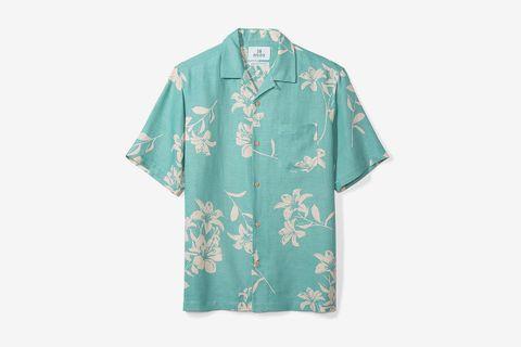 Relaxed-Fit Silk/Linen Tropical Hawaiian Shirt