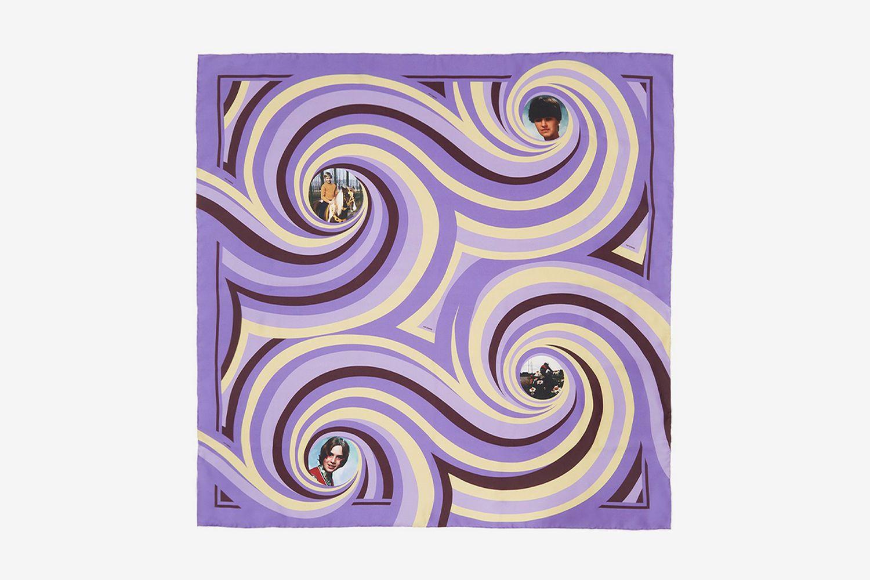 Silk Spiral Print Scarf