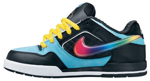buy popular 80149 4dff1 ... Nike SB April 2008 drop – the Zoom Air P-Rod 2. It comes in a mix of  black and light blue with a multicolor colored swoosh and yellow laces.