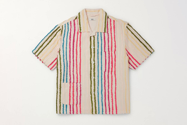 Camp-Collar Striped Cotton-Chenille Shirt