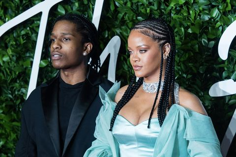 Rihanna in mint fenty, braids, A$AP Rocky Fashion Awards 2019