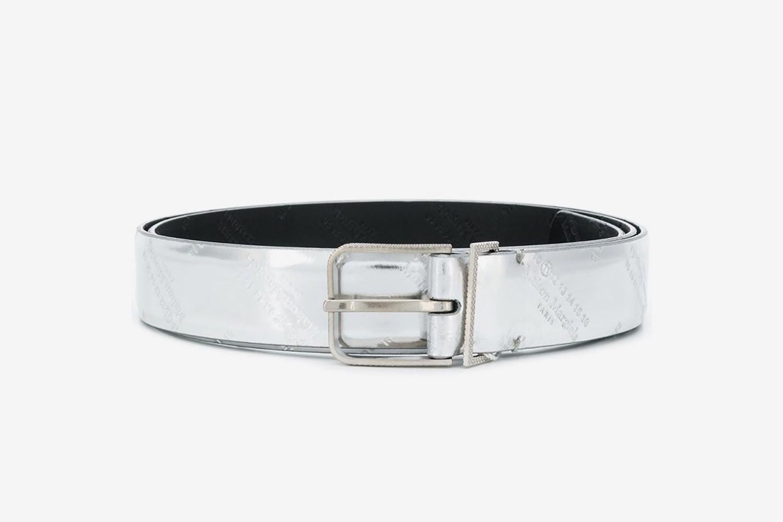 Metallic Logo-Embossed Belt