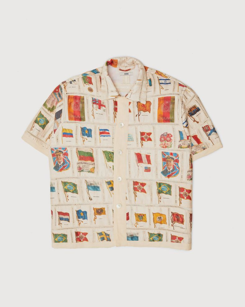 BODE - Tobacco Flag Patchwork Shirt Natural