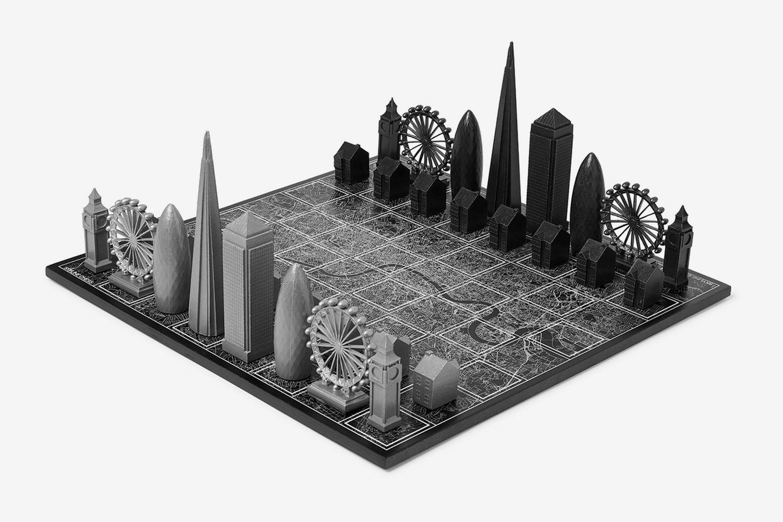 London Metal and Wood Chess Set