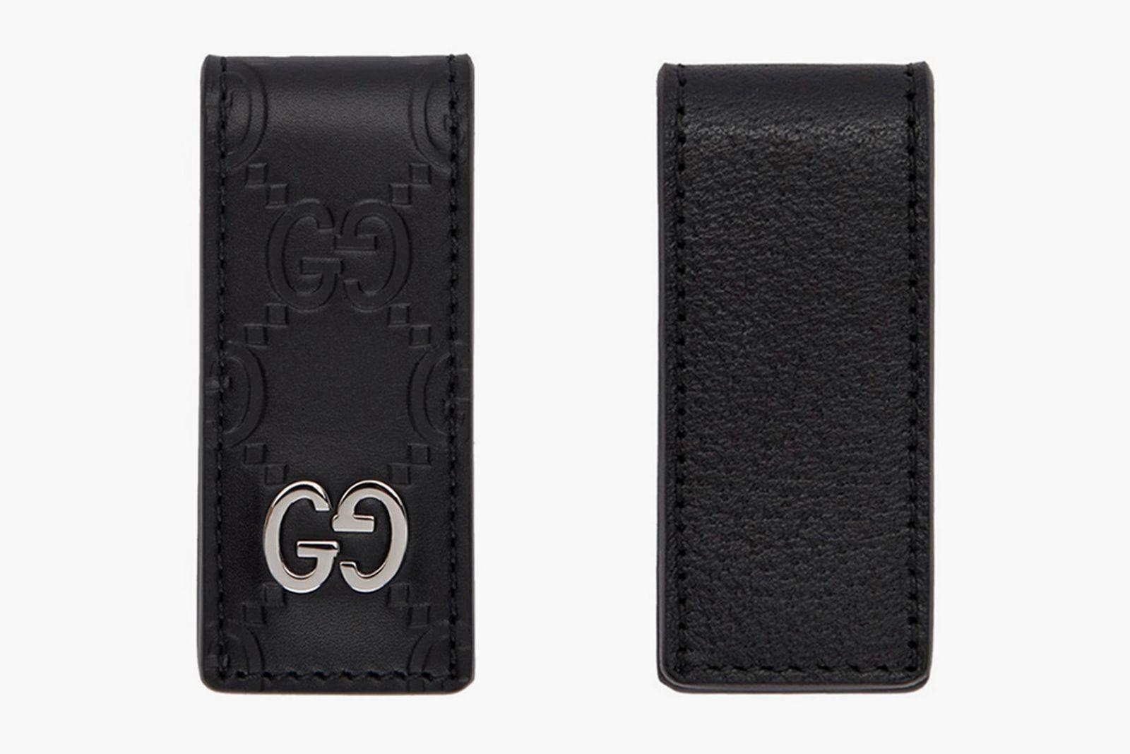 gucci black leather gg money clip ssense