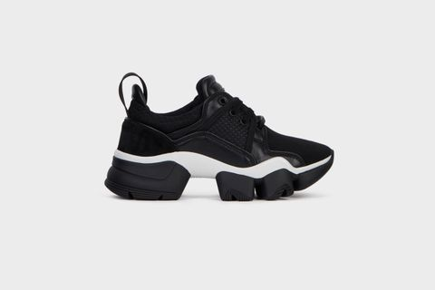 Women's Black & White Low JAW Sneakers in Neoprene and Leather