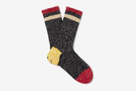 Smiley Striped Cotton and Hemp-Blend Socks