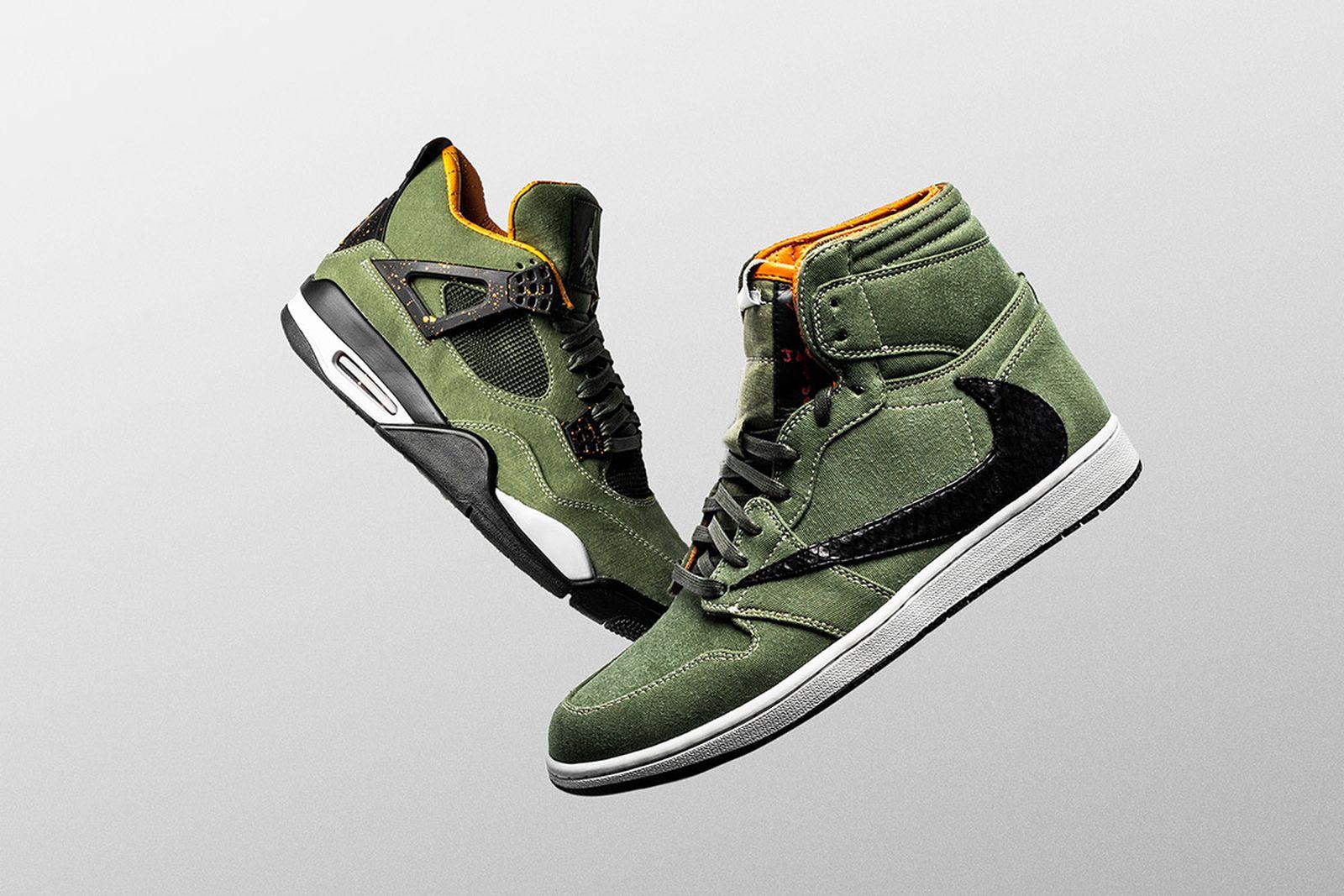travis scott the shoe surgeon nike air jordan military custom Nike Air Jordan 4 nike air jordan 1