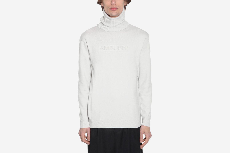 Logo Embossed Wool Blend Knit Sweater