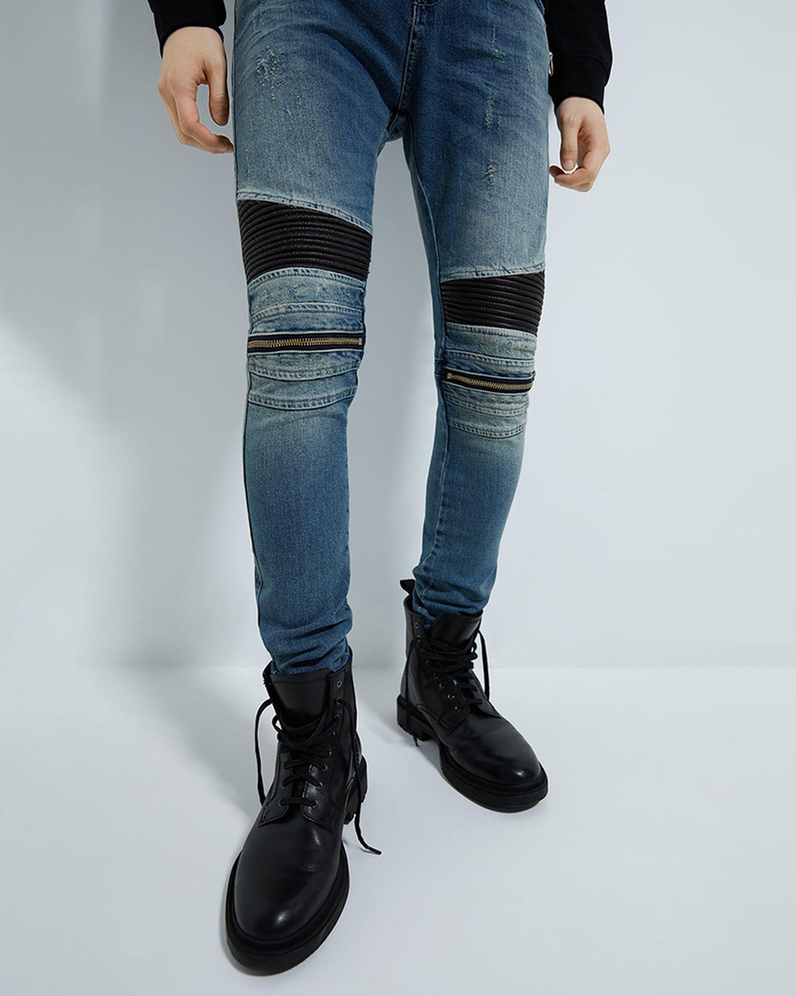 Zara Combination Skinny Biker jeans