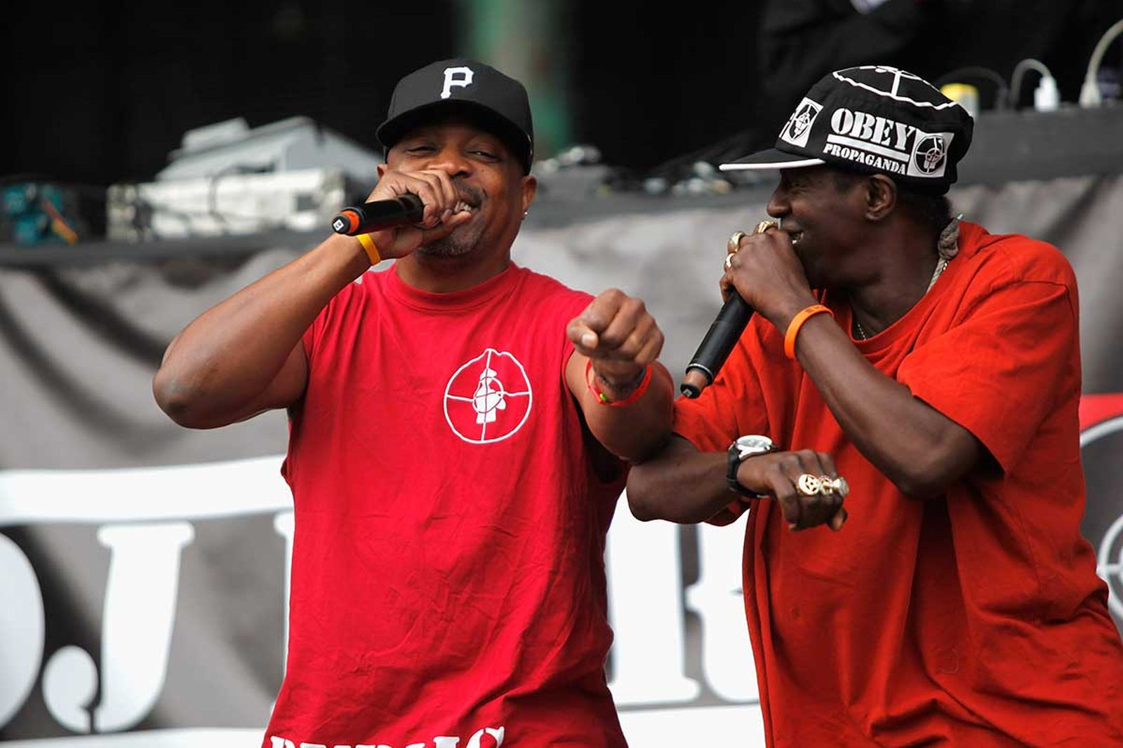 Public Enemy performing on stage