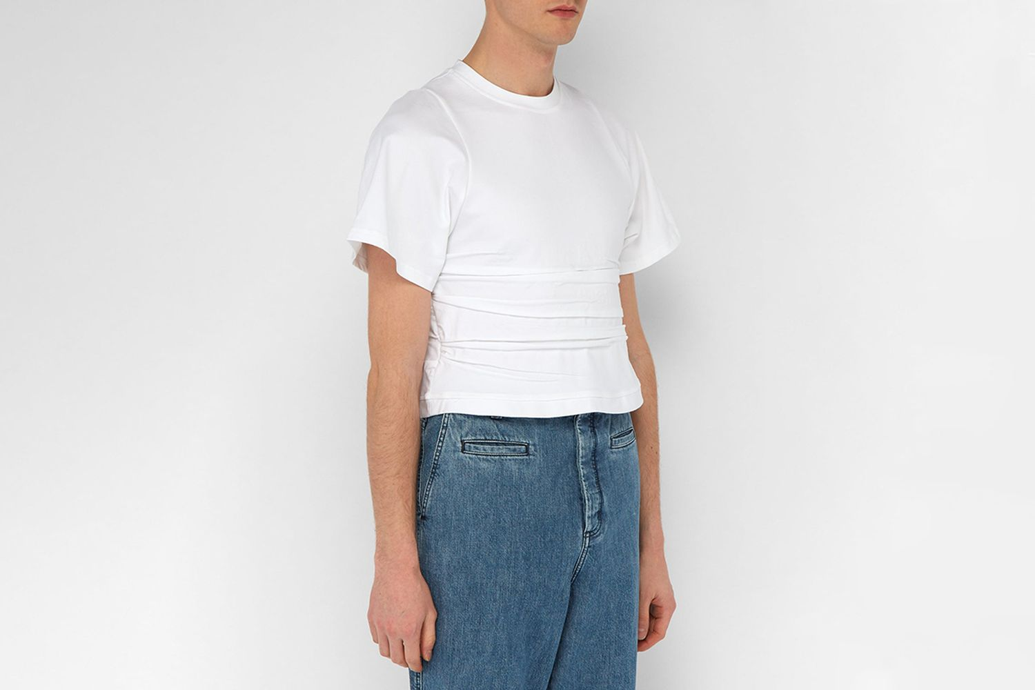 Creased Cropped Cotton-blend Top