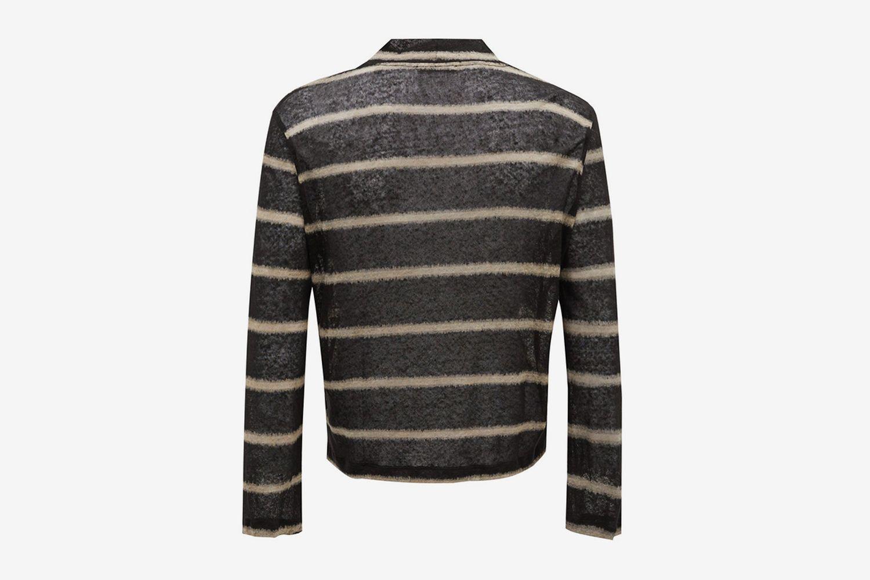 Striped Mock-Neck Linen Top