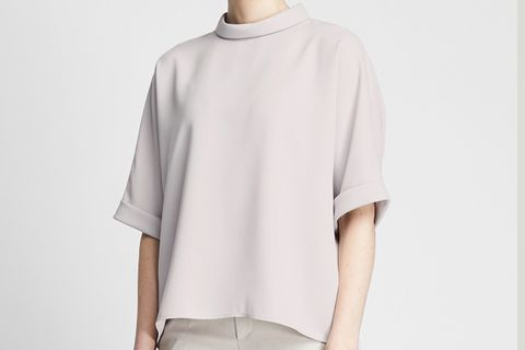 Drape Mock Half-Sleeve Blouse