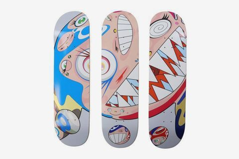 Flying DOB Skate Decks (Set of Three) and Flaming Skulls Skate Decks (Set of Three) (Six Works), 2018