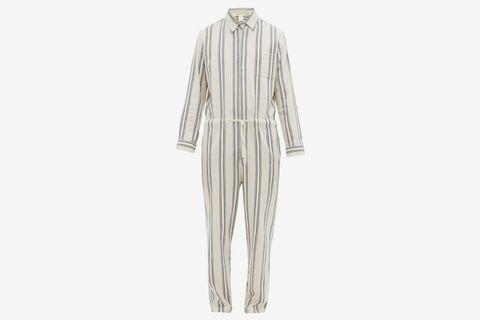 Striped Cotton Blend Drawstring Jumpsuit