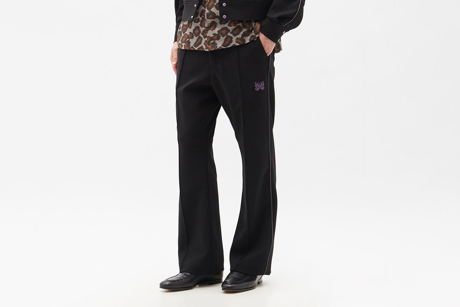 Butterfly-Embroidered Flared Trousers