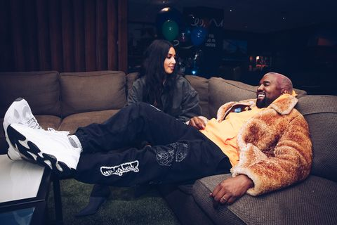 Kim Kardashian and Kanye West couch