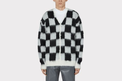 Mohair Checkered Cardigan