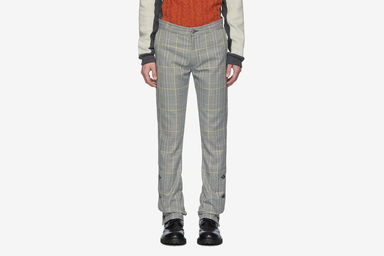 Check Woolmark Split Hem Trousers