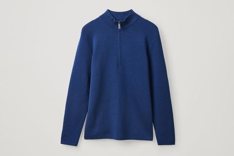 High-Neck Wool Jumper With Zip