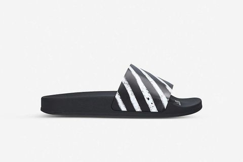 Logo-Print Striped Rubber Sliders