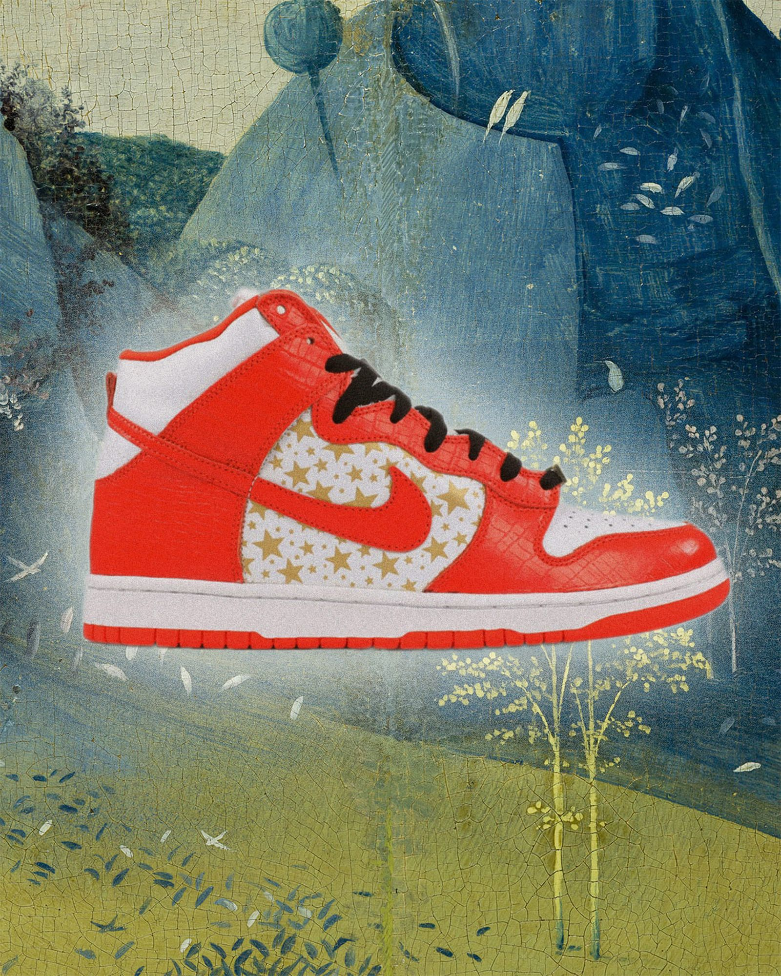 Nike-Dunk-High Pro-SB-Supreme Orange-Stars