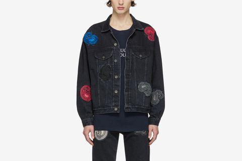 Denim Paisley Embroidered Jacket