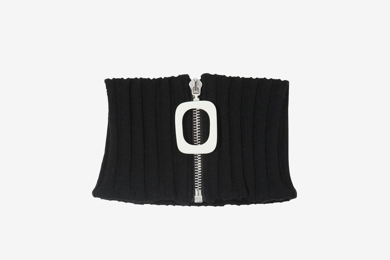 Zip-up Wool Knit Neckband