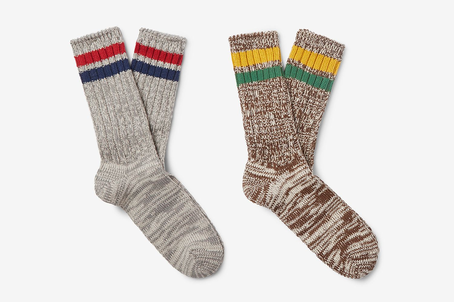 Two-Pack Striped Mélange Cable-Knit Socks