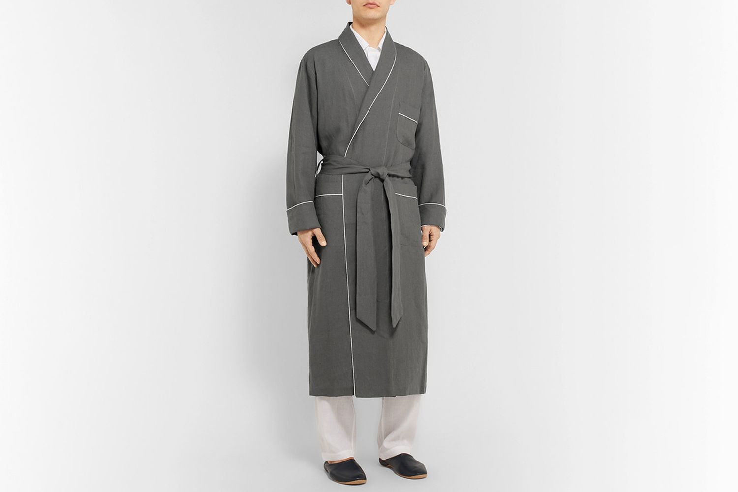 Piped Linen Robe