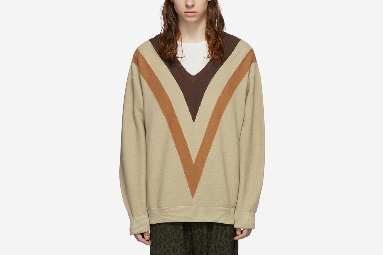 Double-Knit V-Neck Sweater