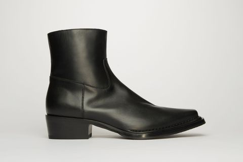 Square-Toe Leather Boots