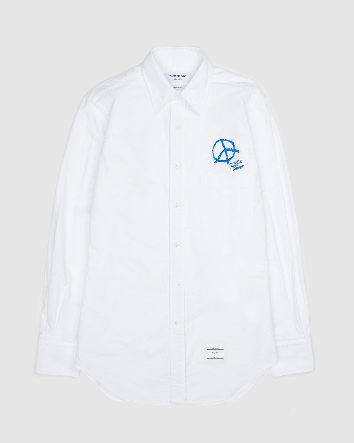 Colette Mon Amour x Thom Browne — White Peace Classic Shirt - Image 1