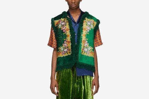 Floral Velvet Jacquard Vest