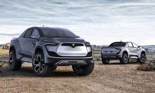 This Concept Art Imagines Tesla's Electric Pickup as the Sci-Fi Truck of the Future