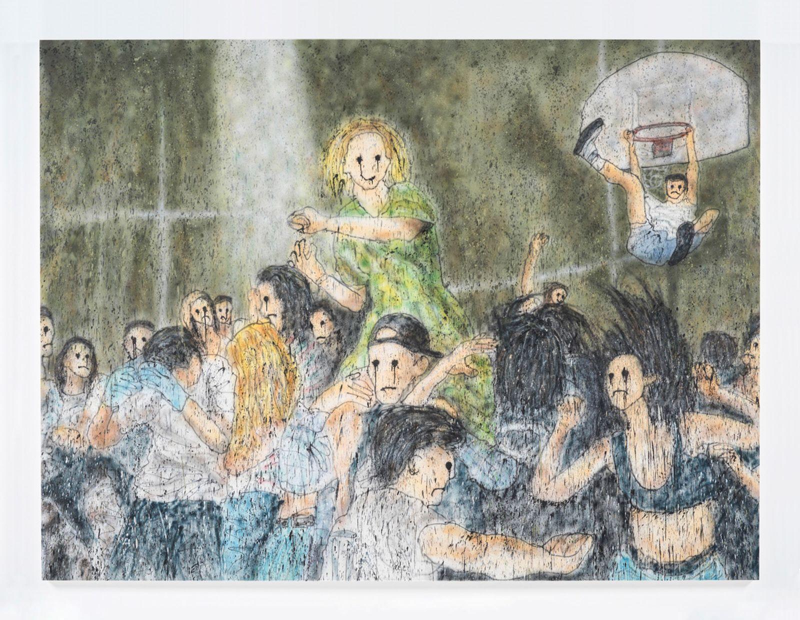 Untitled, 2021 Acrylic paint, aerosol on canvas 230 x 306 cm.