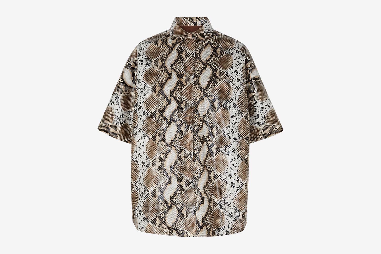Coated Snake-print Shirt