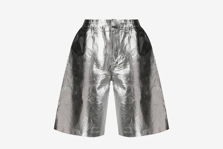 Crinkle-Finished Metallic Shorts