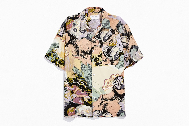 Still Life Rayon Short Sleeve Button-Down Shirt
