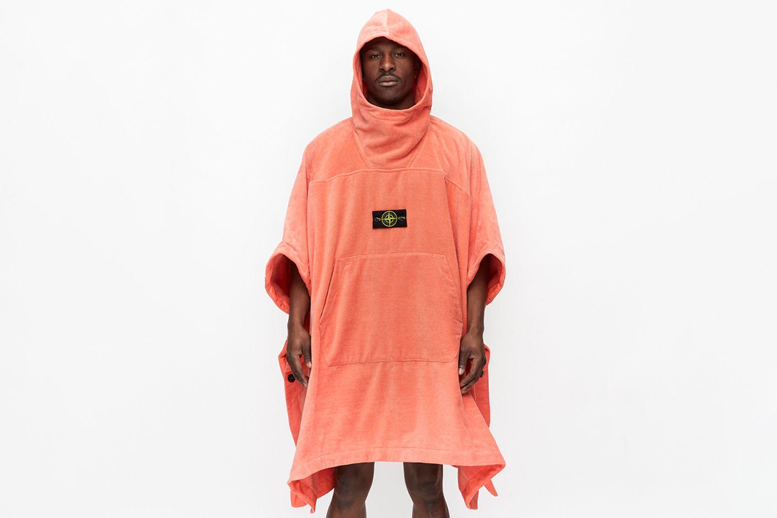 model wears stone island bathrobe
