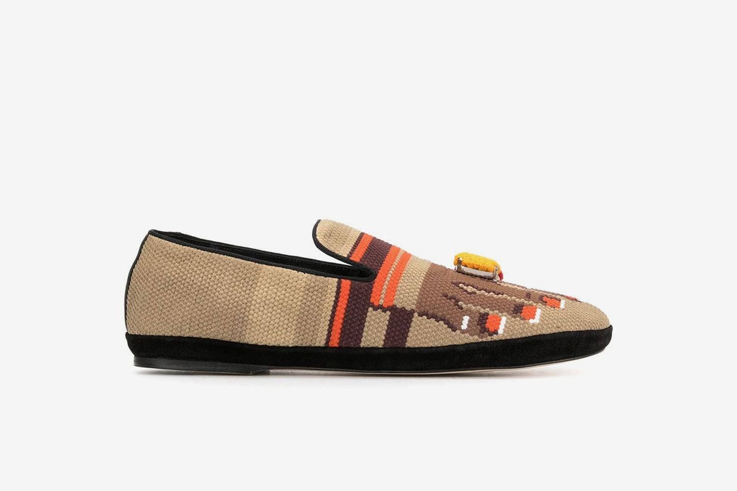 Toes-Embroidered Canvas Loafers
