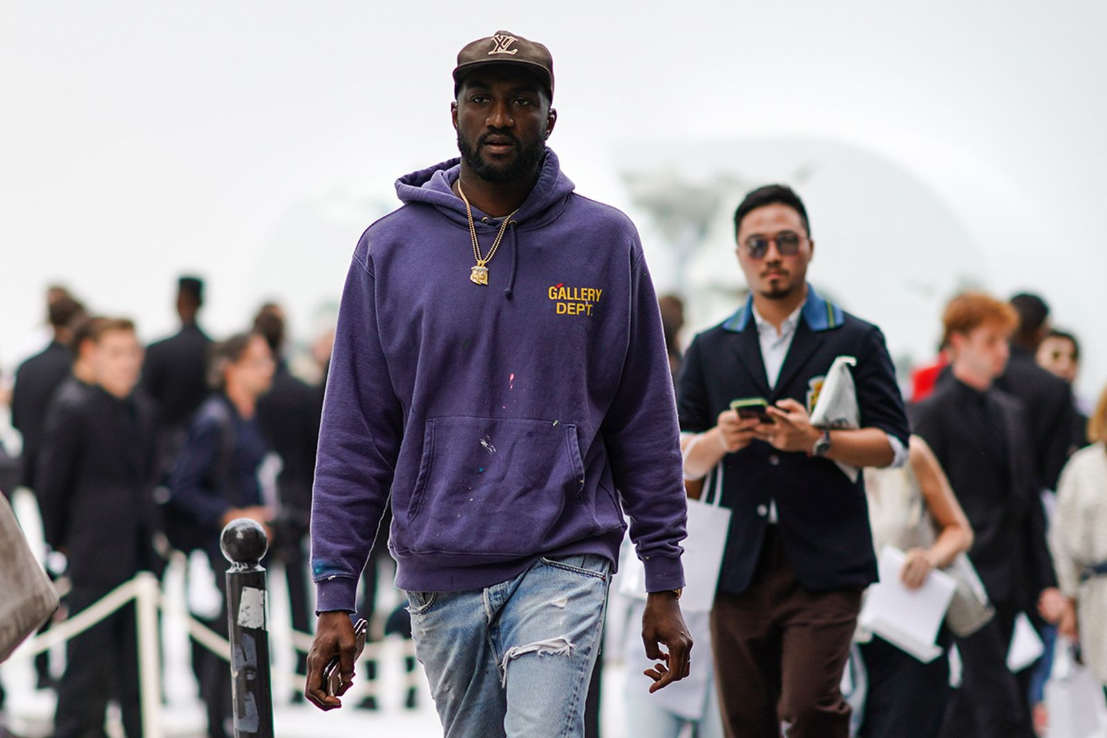 Virgil Abloh purple hoodie Louis Vuitton hat