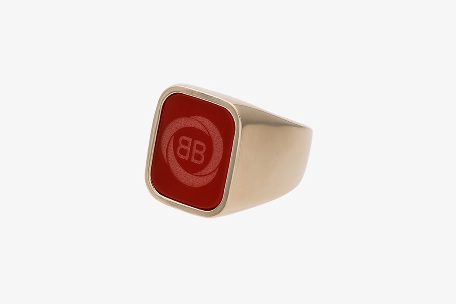 Gold Tone And Red Square Logo Ring