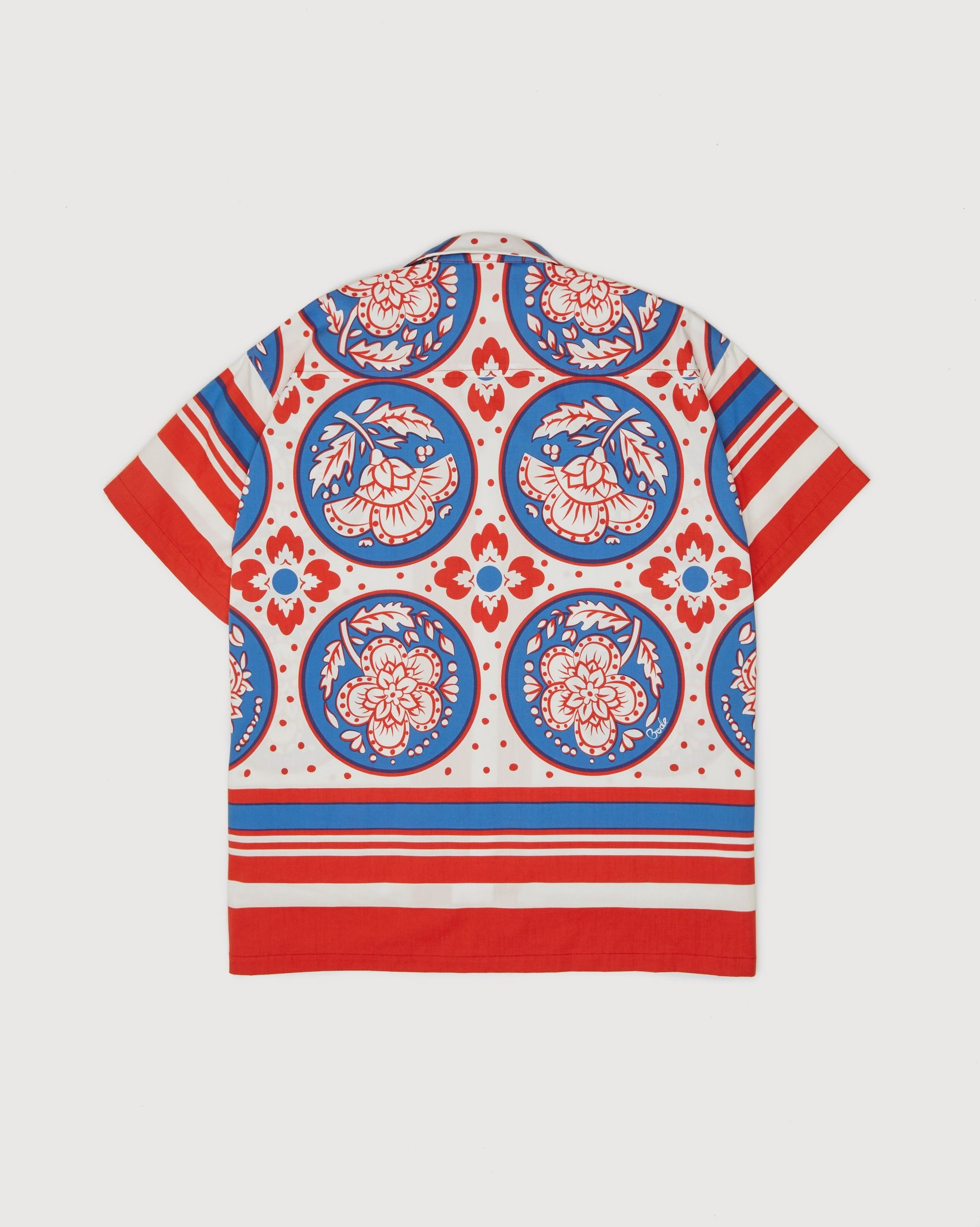 BODE - Oversized Block Print Shirt Blue Red - Image 2