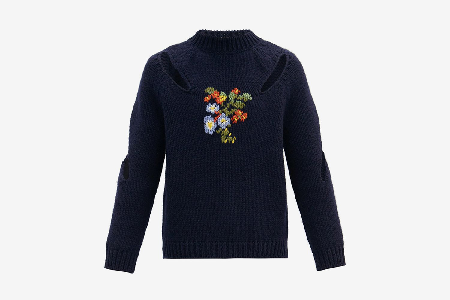Floral-Embroidered Sweater