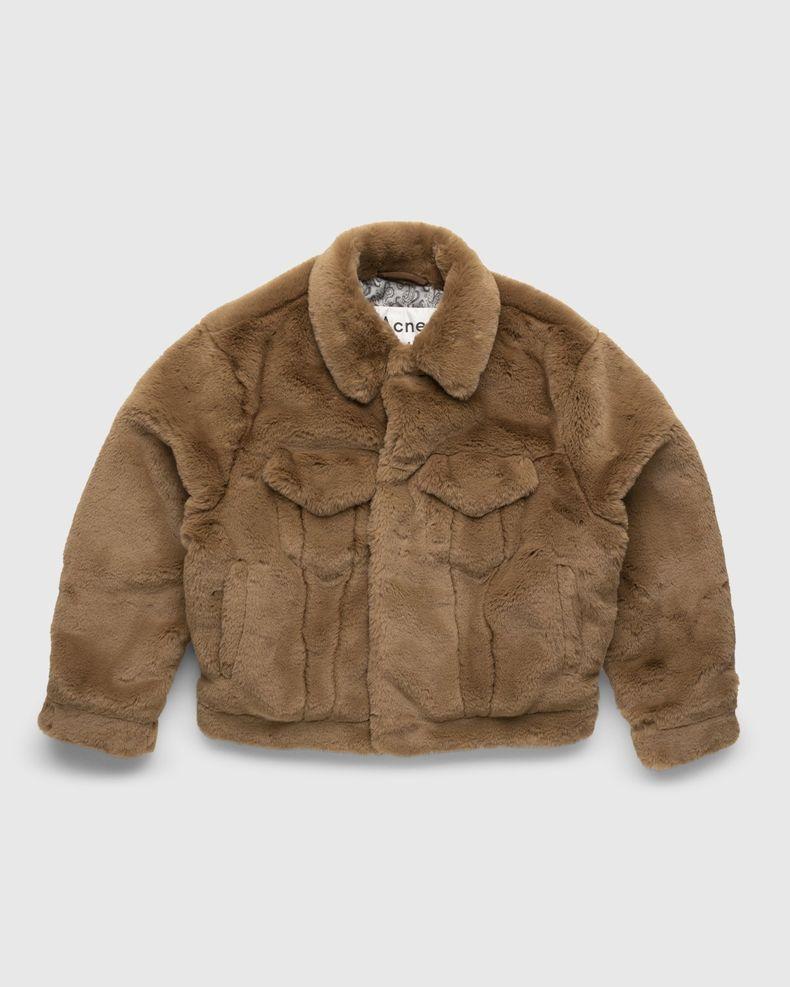 Acne Studios – Boxy Faux Fur Jacket Beige